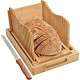 BambooSong Bamboo Bread Slicer with Crumb Tray Bamboo Bread Cutter for Homemade Bread