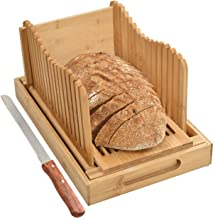 BambooSong Bamboo Bread Slicer with Crumb Tray Bamboo Bread Cutter for Homemade Bread,..
