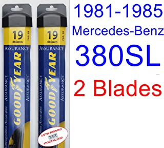 1981-1985 Mercedes-Benz 380SL Replacement Wiper Blade Set/Kit (Set of 2 Blades) (Goodyear Wiper Blades-Assurance) (1982,1983,1984)