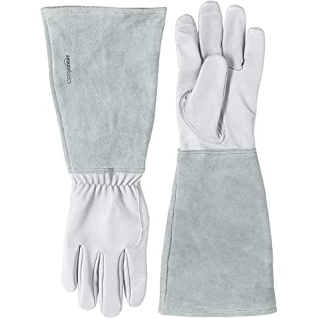 Amazon Basics Leather Gardening Gloves with Forearm Protection, Natural, XS