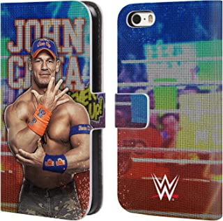 Official WWE LED Image 2017 John Cena Leather Book Wallet Case Cover Compatible for iPhone 5 iPhone 5s iPhone SE