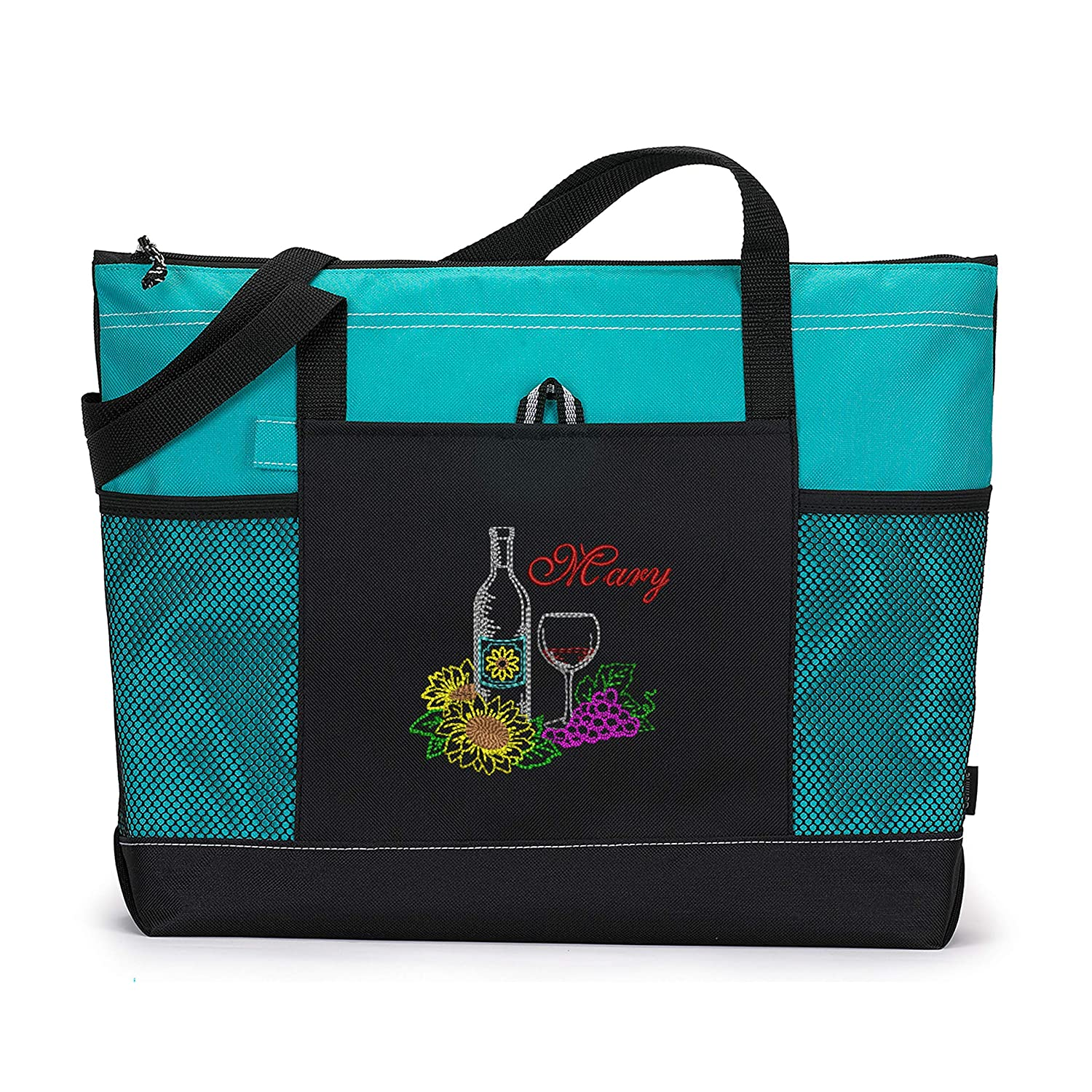 Classic Wine with Sunflowers Personalized Free Ranking TOP13 Shipping New Tote Embroidered w Bag