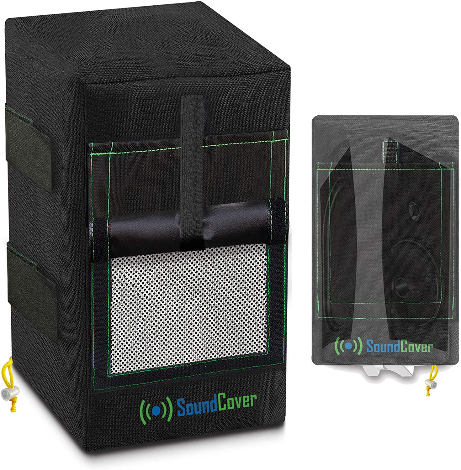 2 Black Award-winning store Miami Mall Heavy Weight Waterproof Speaker Covers Protection for UV