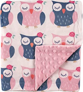Hudson Baby Unisex Baby Plush Mink Blanket with Dotted Mink Back, Owls, 30x40 inches