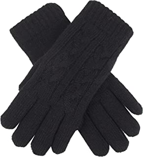 Dents Women's Wool Blend Classic Cable Knit Gloves With Ribbed Cuff & Soft Feather Yarn Lining