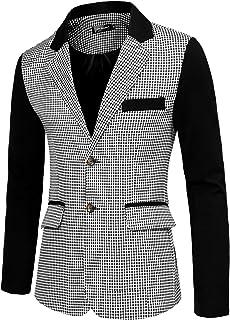 Lars Amadeus Men's Casual Sport Coat Pattern Button Up Houndstooth Plaid Blazer