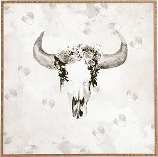 """Deny Designs Kangarui, Romantic Boho Buffalo Iii, Framed Wall Art, Small, 12""""x 12"""""""