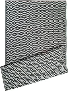 DII Contemporary Indoor/Outdoor Lightweight Reversible Fade Resistant Area Rug, Great For Patio, Deck, Backyard, Picnic, Beach, Camping, & BBQ, 4 x 6', Black Diamond