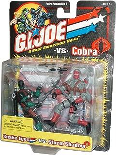 GI Joe vs Cobra Year 2001 Fully Poseable 2 Pack 4 Inch Tall Action Figure - SNAKE EYES vs. STORM SHADOW with Uzi Sub-Machine Gun, 2 Sai Blades, 4 Katana Blades with Sheath and Sub-Machine Gun with Silencer