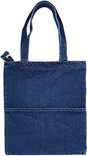 Canvas Bag Denim Tote Shoulder Handbag Shopping School Travel Pockets