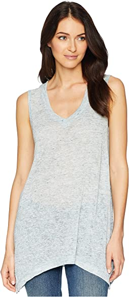 Sleeveless V-Neck Sharkbite Tunic