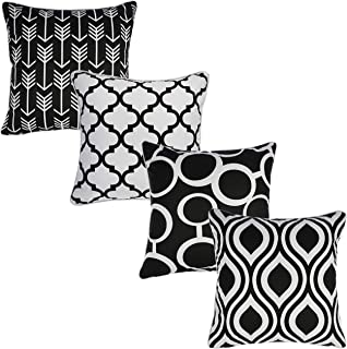 Redearth Printed Throw Pillow Cushion Covers-Woven Decorative Farmhouse Square Cases Set for Couch, Sofa, Bed, Farmhouse, Chair, Dining, Patio, Outdoor, car; 100% Cotton (18x18; Black) Pack of 4