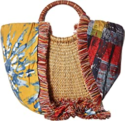 Adira Straw Basket w/ Shoulder Scarf Strap