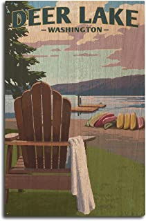 Lantern Press Deer Lake, Washington - Adirondack Chairs and Lake (10x15 Wood Wall Sign, Wall Decor Ready to Hang)
