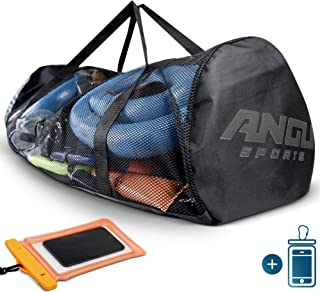 ANGU SPORTS X-Large Mesh Duffle Gear Bag | for Scuba Diving Equipment & Gear, Diving, Fins, Snorkeling, Surfing, Swimming, Beach and Sports Equipment | Phone Pouch Included | Quality Zippers