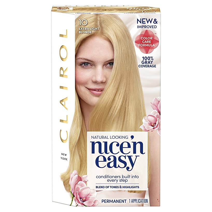 Clairol Nice 'N Easy Permanent Hair Color, 10 Extra Light Blonde (Packaging May Vary)