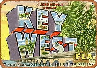 YFULL 12X16 Metal Sign - Greetings from Key West - Vintage Look