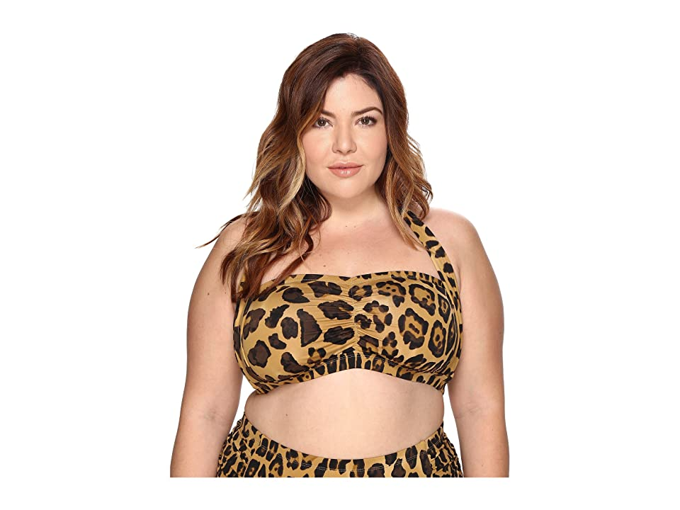 LAUREN Ralph Lauren Plus Size Leopard Retro Halter (Brown) Women