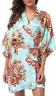 1stmall Floral Satin Kimono Short Style Bridesmaids Robes for Women