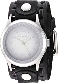 Nemesis ' Gradient Pointium' Quartz Stainless Steel and Leather Casual Watch, Color:Grey (Model: FWTK217W