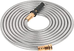 Zhanye Steel Garden Hose 304 Stainless Steel Metal Water Hose Very strong and durable Copper-plated aluminum connector Rust Proof, No kinks and bite Easy to Use & Store, With sprinkler (25)
