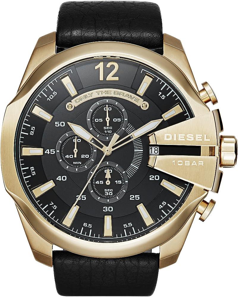 Diesel orologio Cronografo uomo cassa in acciaio inossidabile e cinturino in pelle DZ4344