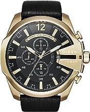 Diesel Men's Mega Chief Chronograph Black Leather Strap Watch DZ4344
