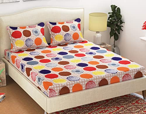 Homefab India Polycotton Double Bedsheet with 2 Pillow Covers Multicolor Polka