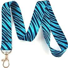 Teal Zebra Animal Print Lanyard Key Chain Id Badge Holder