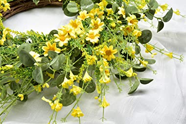Artificial Daisy Wreath - 22 Inches Eucalyptus Wreath with Yellow Flower Wreath Spring Summer Wreath for Front Door Wall Deco