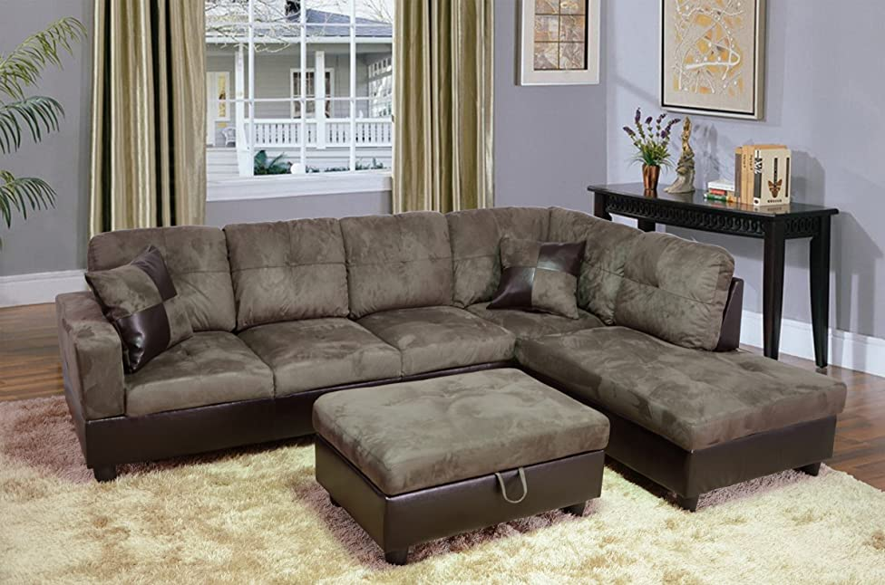 Beverly Fine Furniture F102B Andes Microfiber with Faux Leather Sofa Set with Ottoman, Taupe