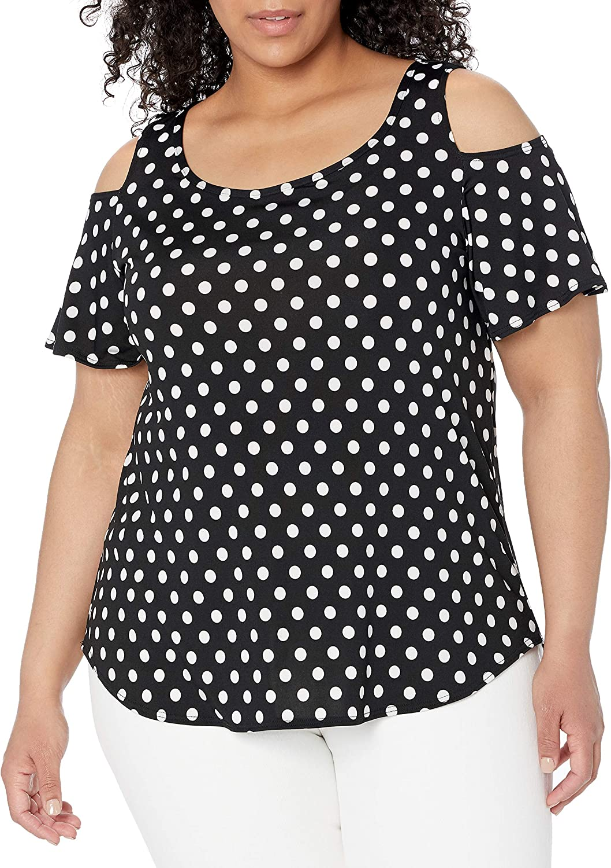 Star Vixen Dallas Mall Women's Plus Size Cold 2021 model Shoulder Top Sleeve Short