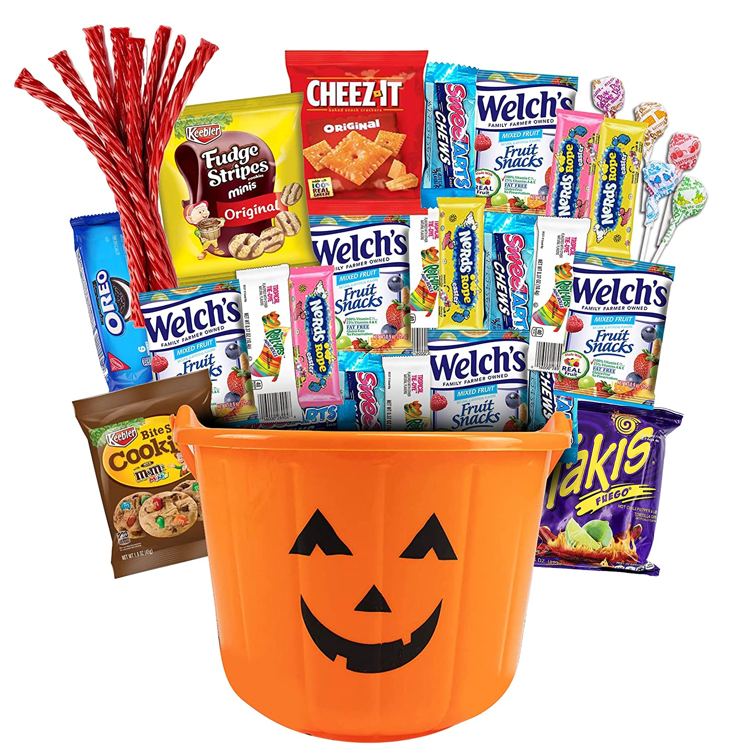 Halloween Care Package Gift Basket 38 pack Candy Snacks Assortment Trick or Treat Cookies Food Bars Toys Variety Gift Pack Box Bundle Mixed Halloween bucket for Children Kids Boys Girls College Students