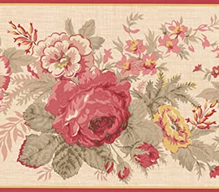 Red Yellow Blooming Flowers Floral Wallpaper Border Retro Design, Roll 15' x 6''