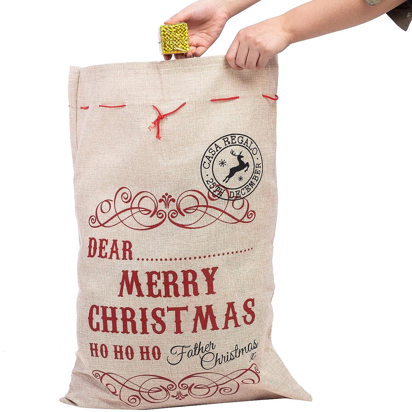 Xena 1 Piece Tan Red Extra Large Cotton Christmas Santa Gift Sack Bag W Drawstring 26.5 x 19 Inch Personalize Boy Girls