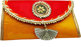 Brown Leaf Jaipuri Handmade Purse Clutch Rakhi & Birthday Gift for Sister Mother & Your Wive