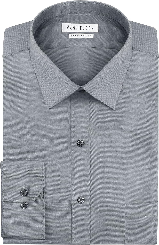 Van Heusen Mens Dress Shirts Regular Spread Pincord Ranking TOP13 Max 41% OFF Solid Fit Co