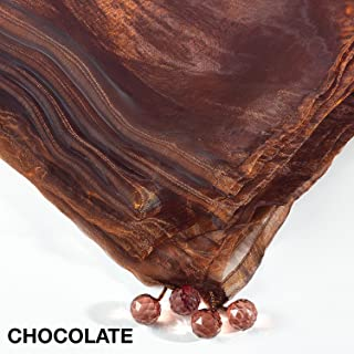 Fennco Styles Sorbet Tissue Organza Tablecloth 54 x 54 Inch - Chocolate Sheer Table Cover for Home Décor, Banquets, Wedding and Special Events