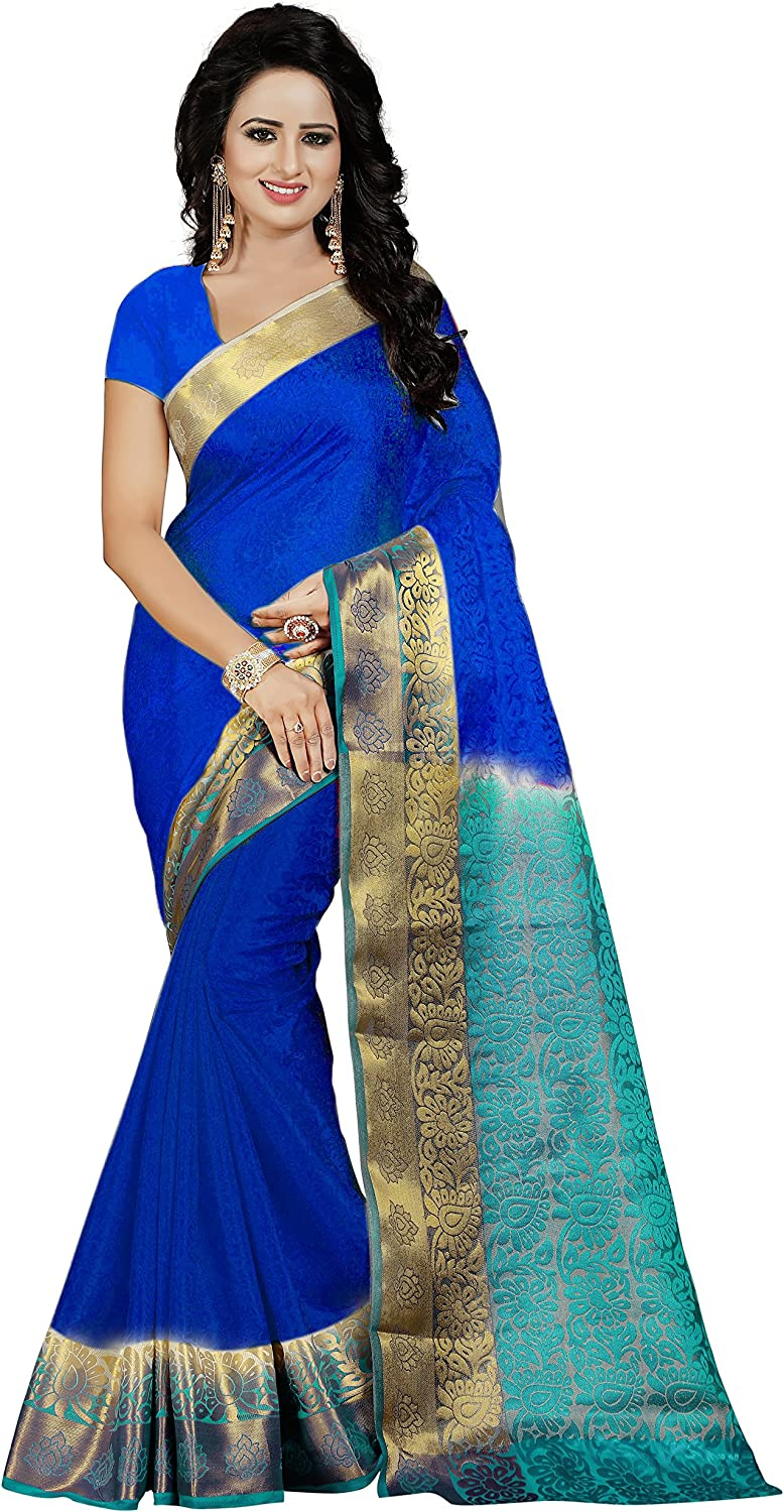 Nirja Creation Women's Cotton Silk Saree with Blouse(Madhuri) (bluee FIROZI)