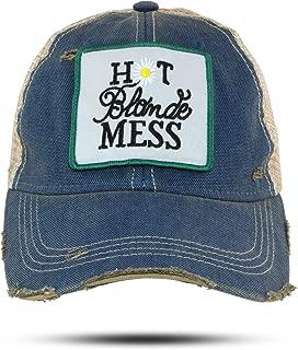Hot Blonde Mess Trucker Hat Baseball Cap for Women Blue
