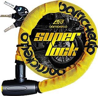 Barrichello(バリチェロ) バイクロック ワイヤーロック バイク 自転車 φ(直径)22mm×1200mm チェーンロック 盗難防止 鍵3本セット 保証付き 【イエロー】