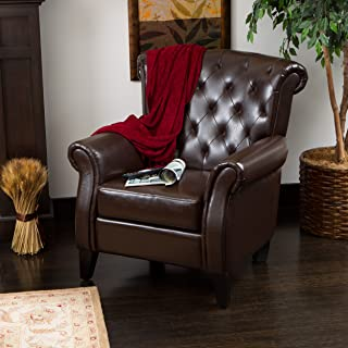 Christopher Knight Home 216743 Greggory Leather Club Chair, Hazelnut