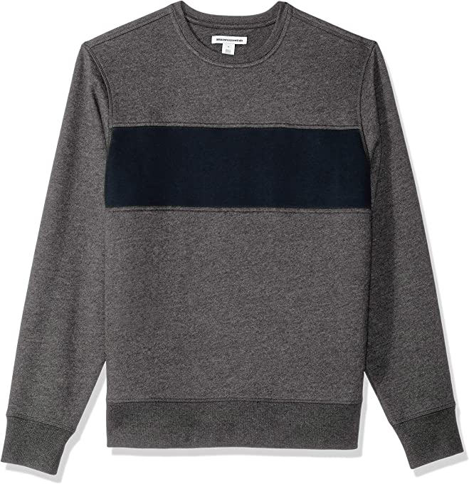 Amazon Essentials Men's Crewneck Fleece Chest Stripe Sweatshirt