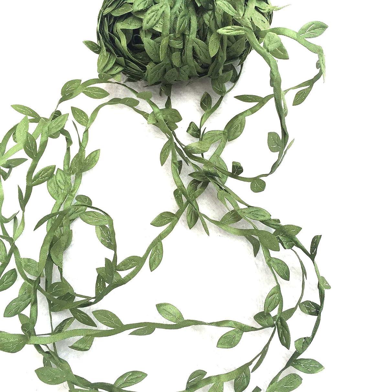 levylisa 21.8 Yards Olive Leaf Vine Ribbon, DIY Leaf Headband, Leaf Balloon Tail, DIY Leaf Crown, DIY Leaf Napkin Rings, Leaves Garland, Ribbon Craft Sewing DIY Wedding Bouquet, DIY Wedding Gift