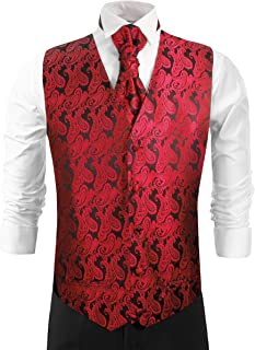Red and Black Tuxedo Vest Set