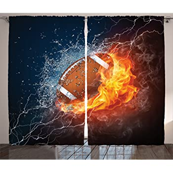 Amazon Com Ambesonne Sports Curtains Football On Fire And Water Flame Splashing Thunder Bolt Abstract Conceptual Art Living Room Bedroom Window Drapes 2 Panel Set 108 X 84 Navy Orange Home Kitchen