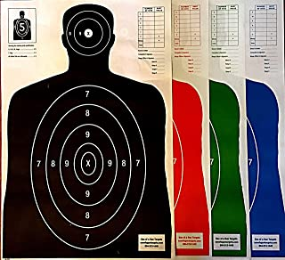 Son of A Gun Paper Shooting Targets, HIGH Shot Placement Visibility, Life Size B-27 Silhouettes, Four Color Combo Package, 25 Each-100 Total Count, Gun, Rifle, Pistol, Airsoft, BB Gun, Air Rifle-KOGC