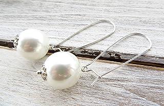 Orecchini con perle bianche, orecchini argento 925, pendenti a goccia, gioielli sposa, bijoux matrimonio