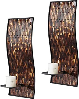 Whole Housewares 8 x 18 Inches Decorative Metal Wall Candle Sconce - Mosaic Glass Set of 2 Pack (Brown Multi)
