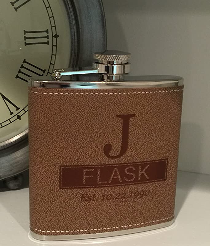Personalized Tan Hide Stitch Flask Free Engraving